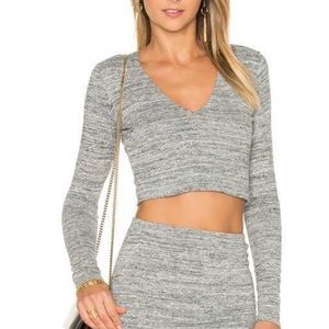 Alice & Olivia Heathered Gray Crop Top and Skirt
